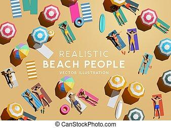 aérien, gens, sommet, vacances, plage, vue