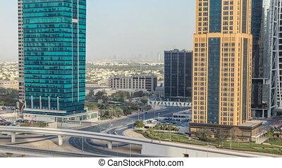 aérien, gratte-ciel, tours, zayed, timelapse, lacs, jumeirah, cheikh, trafic, vue, road.