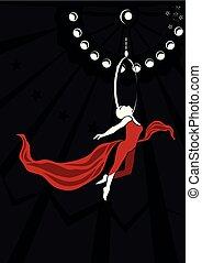 aérien, gymnastique, danseur