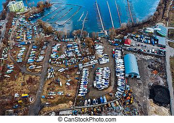 aérien, hiver, bateaux, bateau, stockées, yard, temps,...