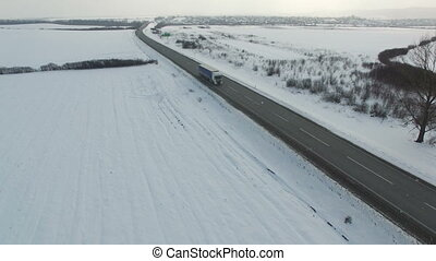 aérien, hiver, conduite, neigeux, camion, coup, route, field.