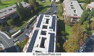 aérien, installation, bâtiment, panneaux, retraite, renouvelable, énergie solaire