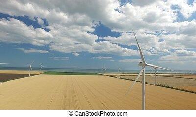 aérien, jaune, enquête, steppe, fond, turbine, vent, sea.