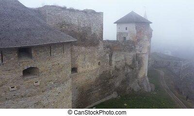 aérien, kamianets-podilskyi, vue, château, ukraine