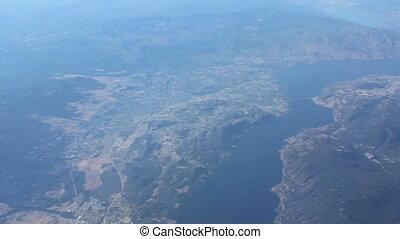 aérien, lac okanagan, vue