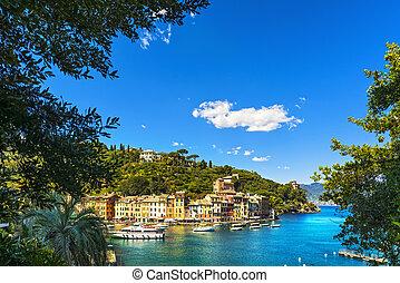aérien, liguria, portofino, arbres., repère, village, italie, vue, luxe
