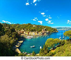 aérien, liguria, portofino, panoramique, luxe, village, italie, vue., repère