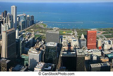 aérien, millénaire, parc, chicago, panorama