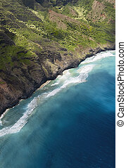 aérien, na, hawaï, côte, pali, kauai, vue