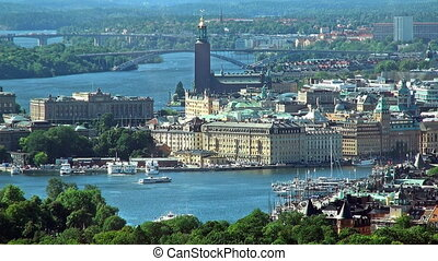 aérien, panorama, de, stockholm