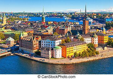 aérien, panorama, de, stockholm, suède