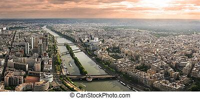 aérien, paris, seine, panoramique, river., vue