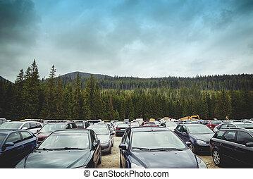 aérien, parking, dehors, véhicules