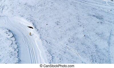 aérien, pente, bas, équitation, vue, snowboarder