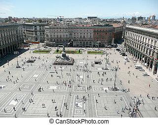 aérien, piazza, duomo, milan, del, cathédrale, italie, vue