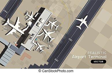 aérien, -, piste, avions, terminal, aéroport, vue