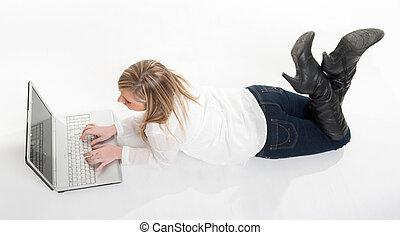 aérien, plancher, ordinateur portable, utilisation, girl, vue