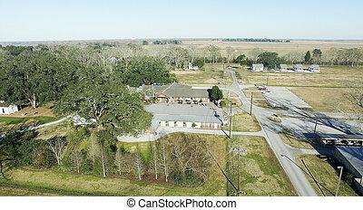 aérien, plantation, chêne, -, ruelle, lousiana, vue