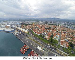 aérien,  port,  koper, vue
