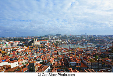 aérien, portugal., porto, vue