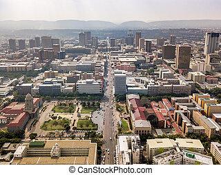 aérien, pretoria, afrique, capital, en ville, vue, sud, ville