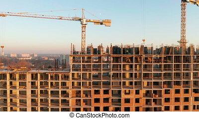 aérien, processus, coup, construction, bâtiment