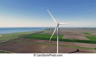 aérien, production, turbines, vent, vue, énergie