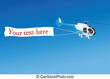 aérien, publicité, à, hélicoptère