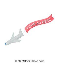 aérien, publicité, icône, dans, dessin animé, style, isolé, blanc, arrière-plan., publicité, symbole, stockage, vecteur, illustration.