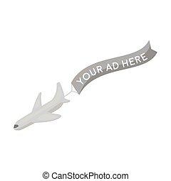 aérien, publicité, icône, dans, monochrome, style, isolé, blanc, arrière-plan., publicité, symbole, stockage, vecteur, illustration.