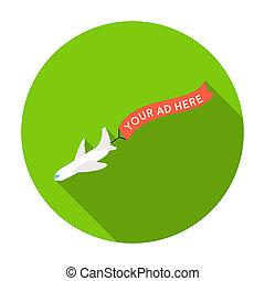 aérien, publicité, icône, dans, plat, style, isolé, blanc, arrière-plan., publicité, symbole, stockage, rastr, illustration.