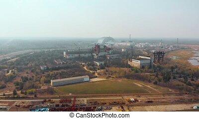aérien, puissance, nucléaire, chernobyl, plante, vue
