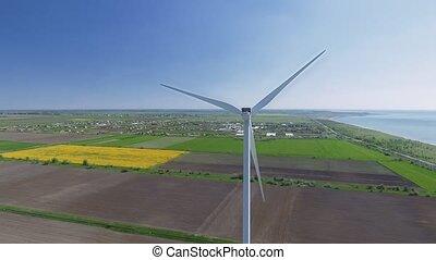 aérien, puissance, turbines, field., vent, vue