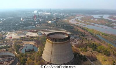 aérien, puissance, usine nucléaire, ukrine., vue, chernobyl