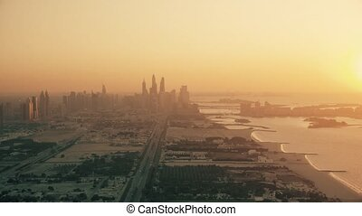 aérien, résidentiel, dubai, jumeirah, vue, secteur, côtier, coucher soleil