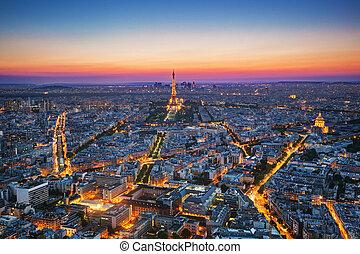 aérien, repères, paris, france, sunset., vue