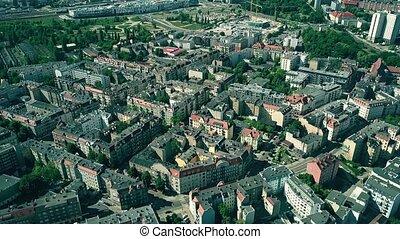 aérien, secteur, résidentiel, pologne, poznan, vue