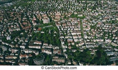 aérien, secteur, zurich, résidentiel, suisse, vue
