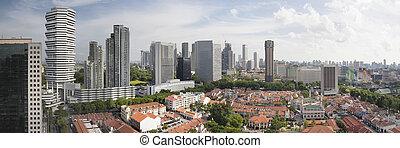 aérien, singapour, panorama, kampong, glam, vue
