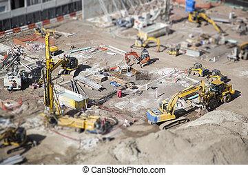 aérien, site, bokeh., construction, extrême, vue