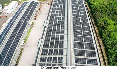 aérien, solaire, vue, panneaux, toit
