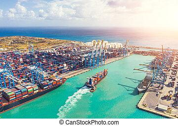 aérien, sommet, expédition, business, exportation, importation, navire porte-conteneurs, vue.