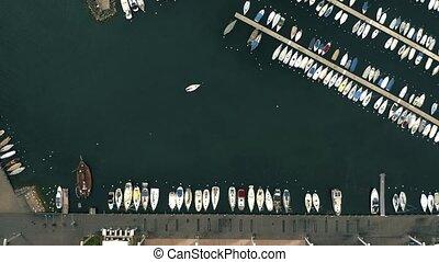 aérien, sommet, lac, bas, marina., lausanne, suisse, voiliers, vue