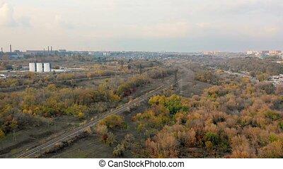 aérien, sommet, suburb., automne, single-way, ferroviaire, vide, vue