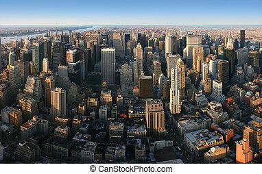aérien, sur, panoramique, york, nouveau, manhattan, vue