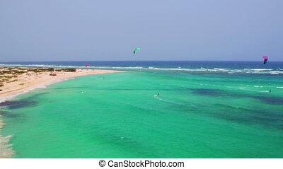 aérien, surfer, aruba, cerf volant