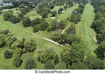 aérien, terrain de golf, vue