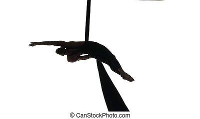 aérien, tissu, contorsion, danseur, soie, rubans, poser, ...
