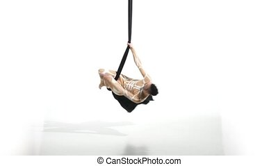 aérien, tissu, contorsion, danseur, soie, rubans, poser, exercice, homme