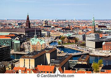aérien, toits, danemark, copenhague, canaux, vue